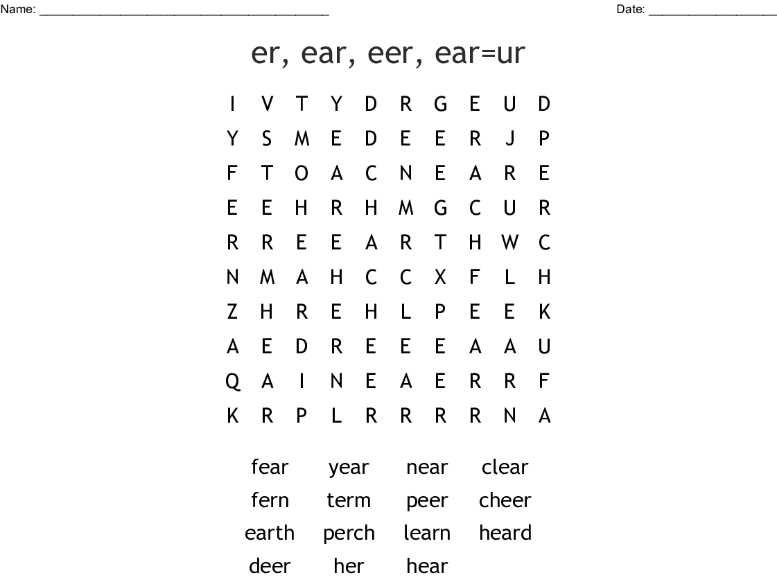 R Controlled Vowels Word Search
