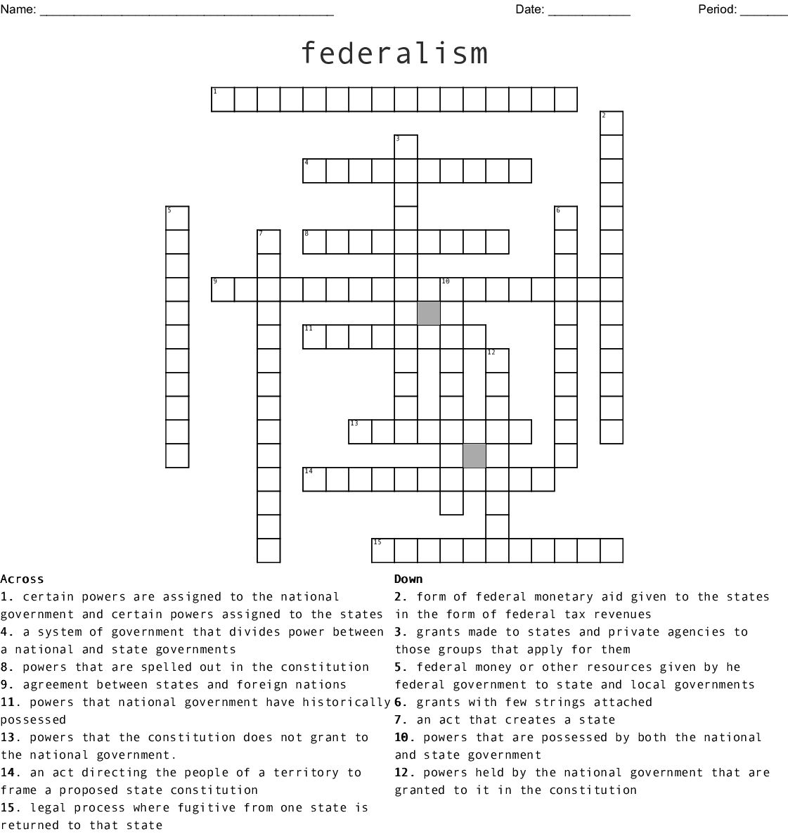 Federalism Crossword