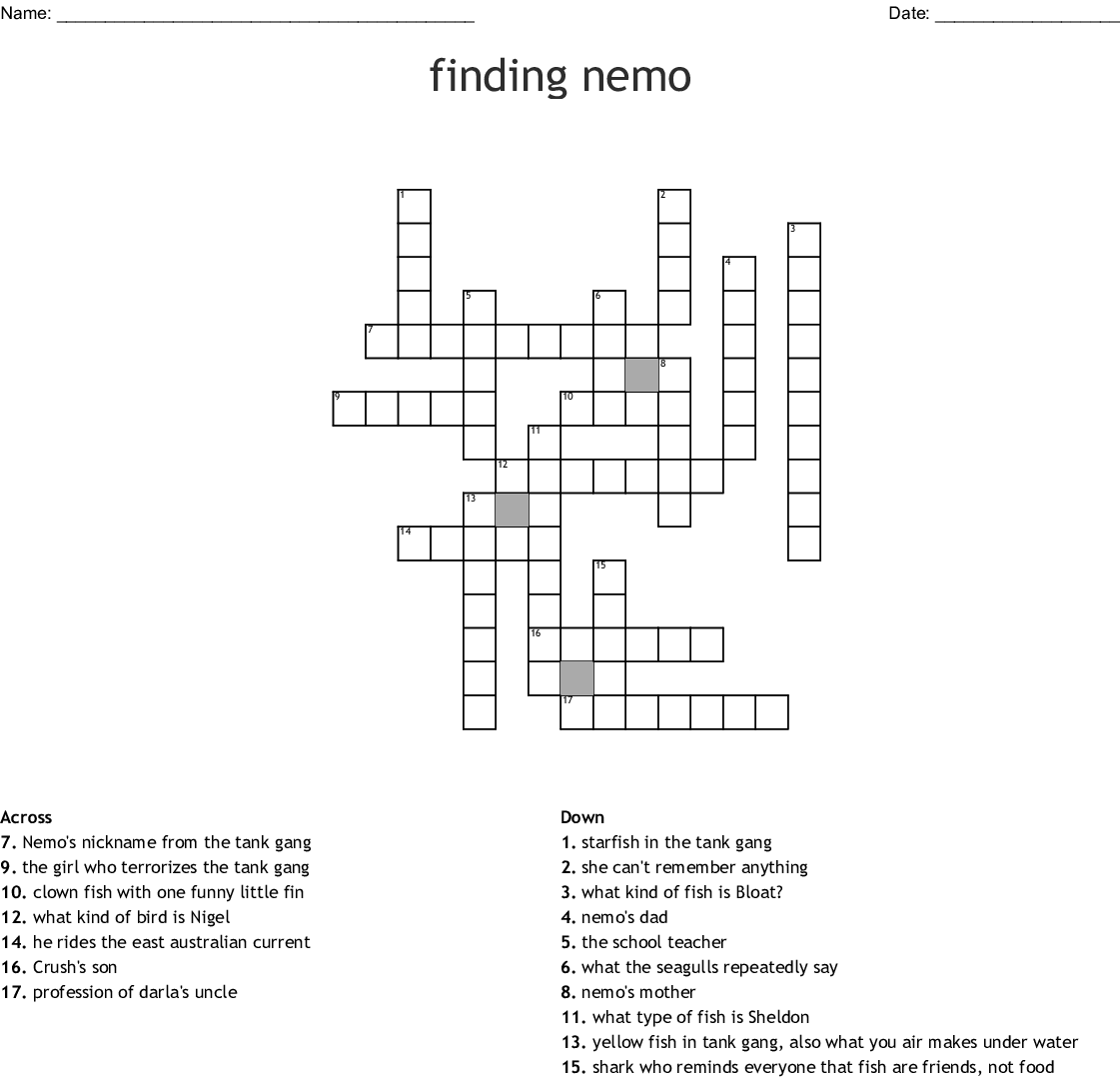 Finding Nemo Word Search