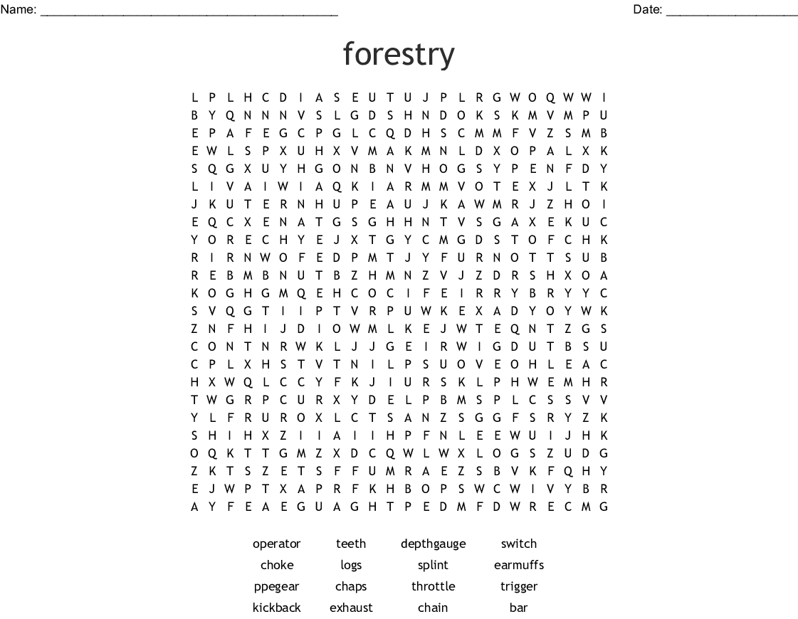 Forestry Word Search