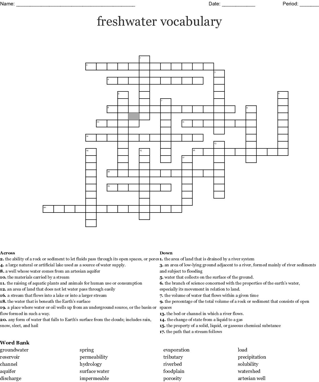 Freshwater Vocabulary Crossword
