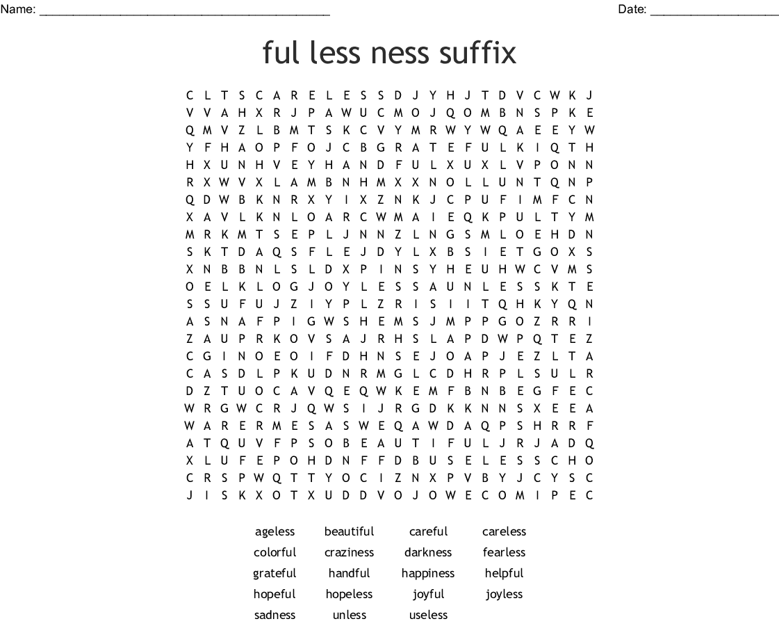 Ful Less Ness Suffix Word Search