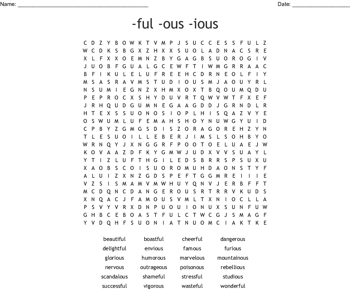Adjective Suffixes Ful