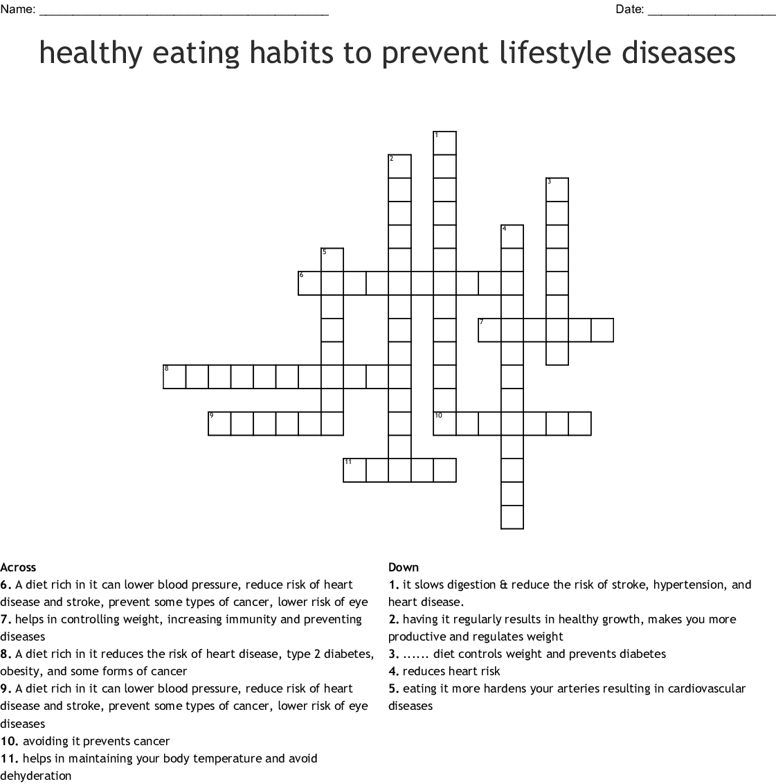 Healthy Habits To Prevent Lifestyle Diseases Crossword