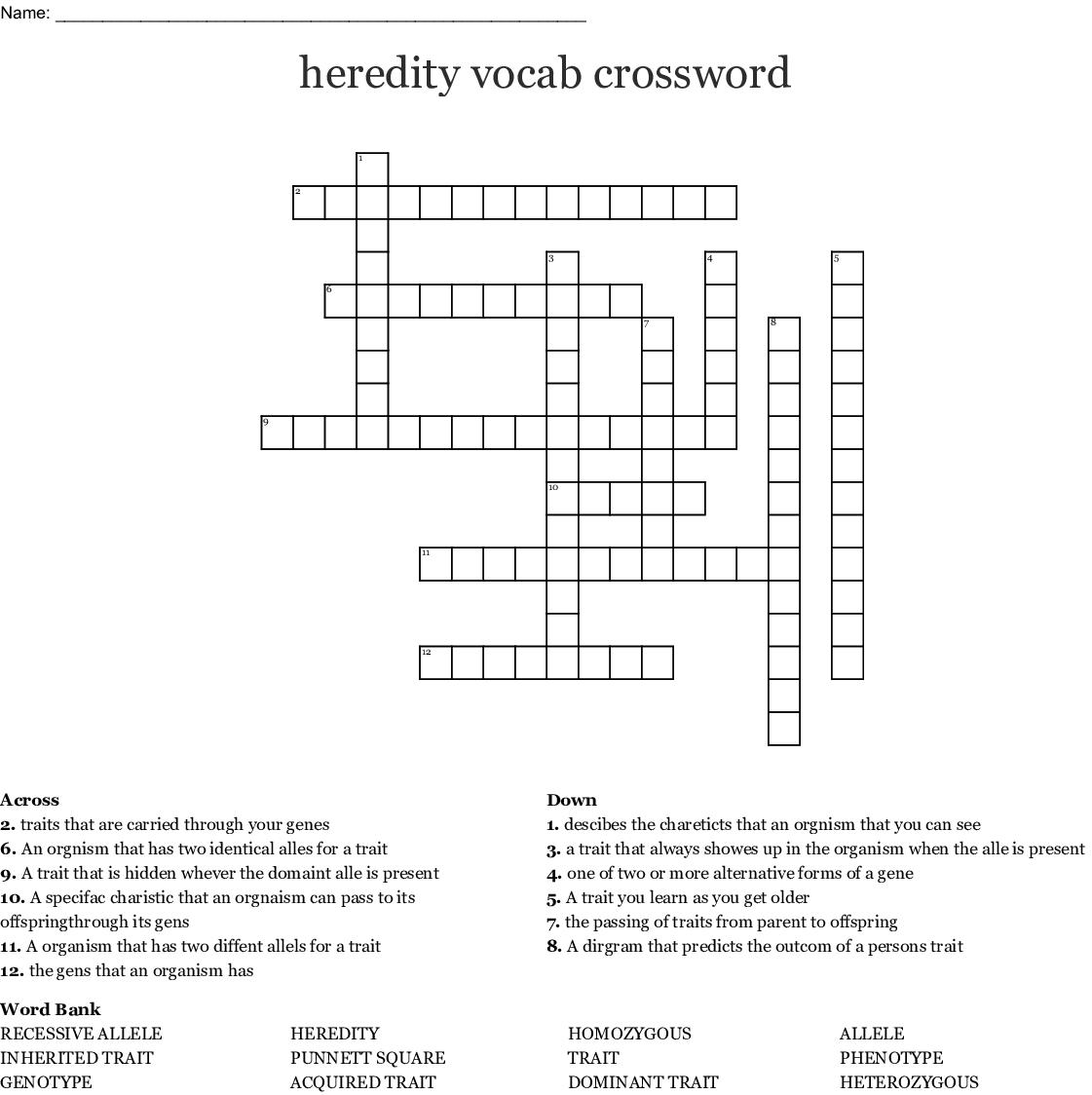 Genetics Vocabulary Crossword Puzzle Wordmint