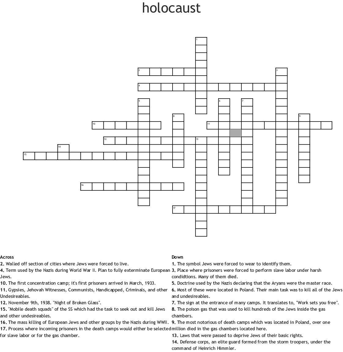 The Holocaust Word Search