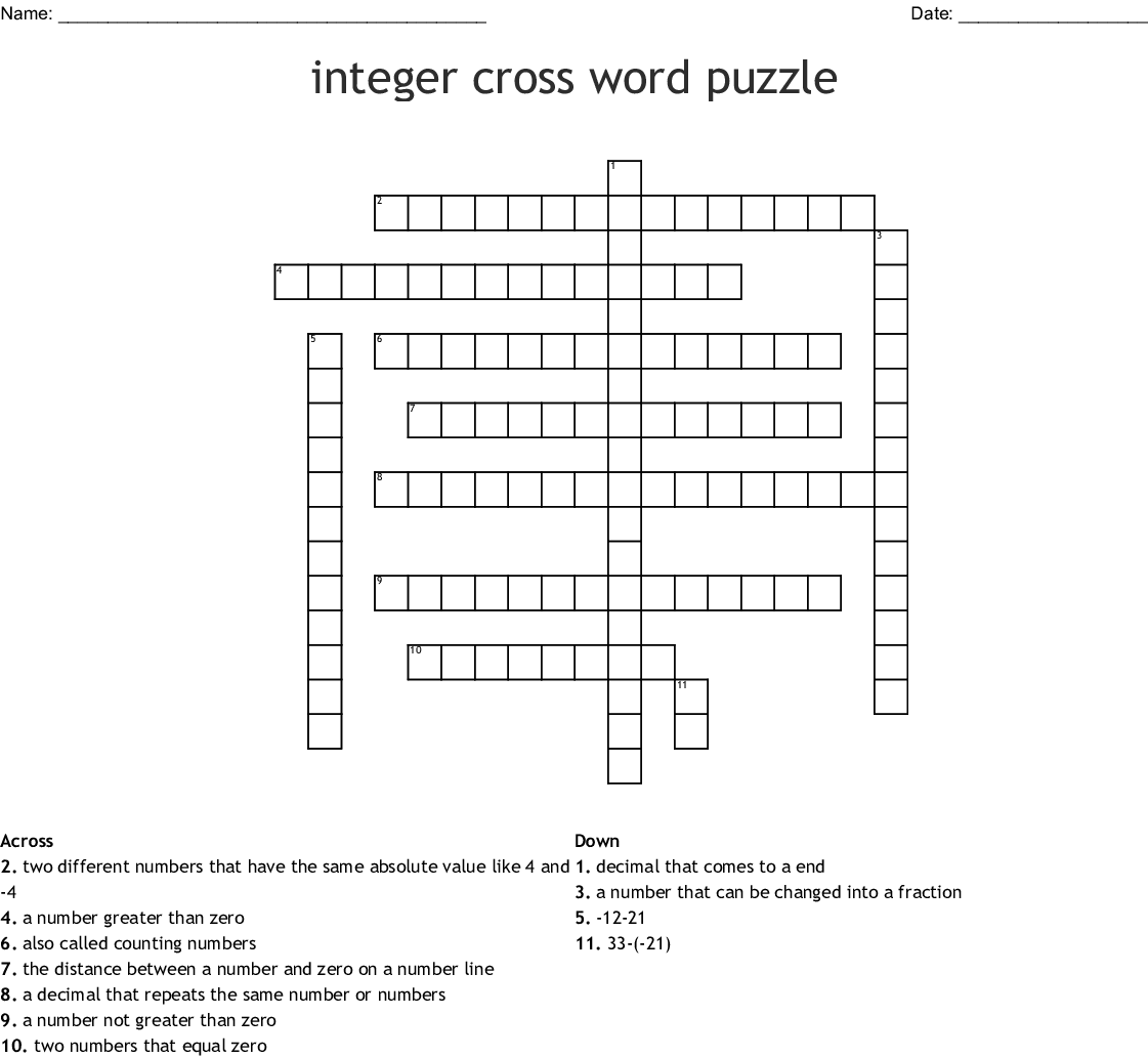 Integer Cross Word Puzzle