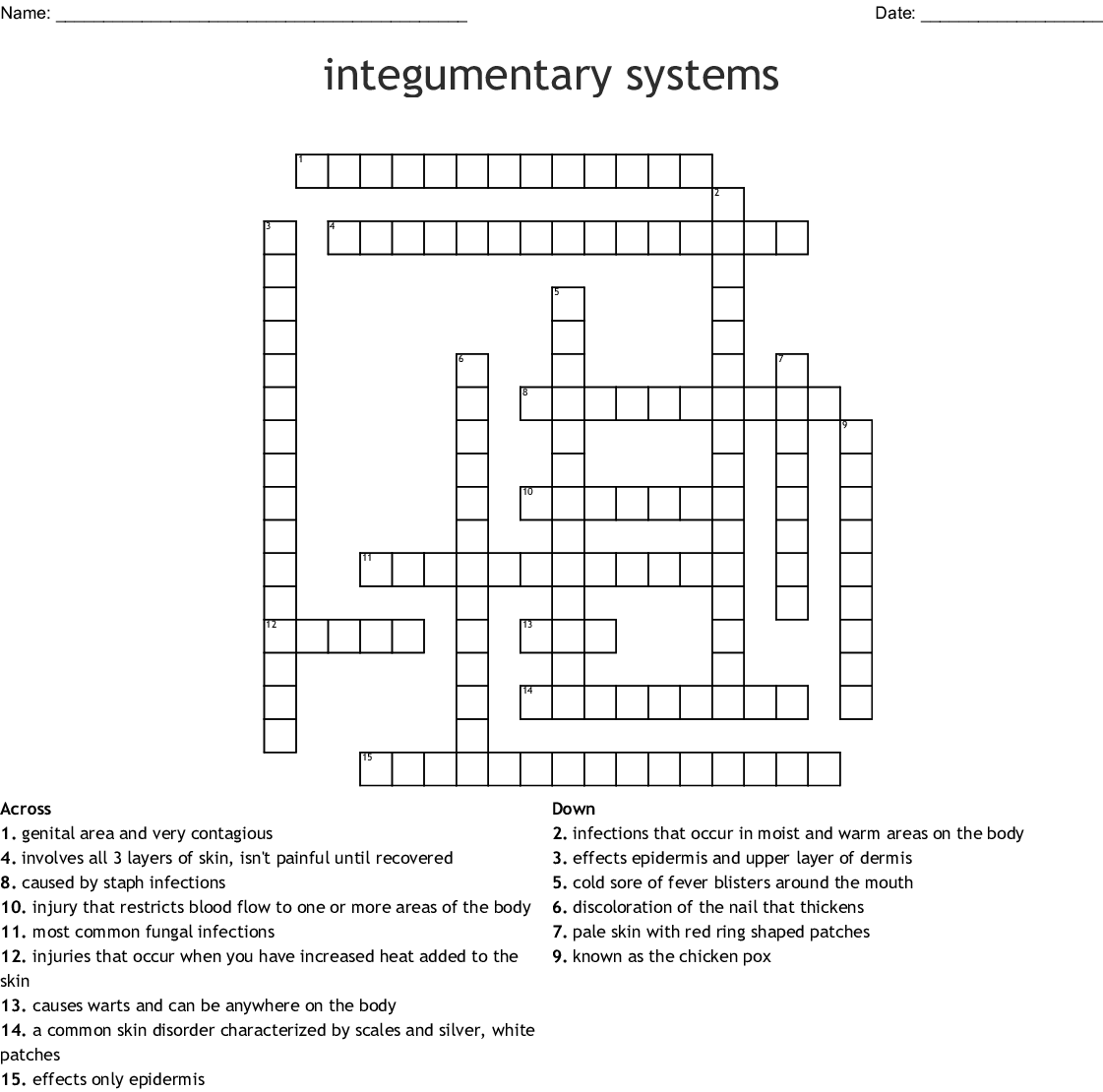 Fungal Infections Crossword