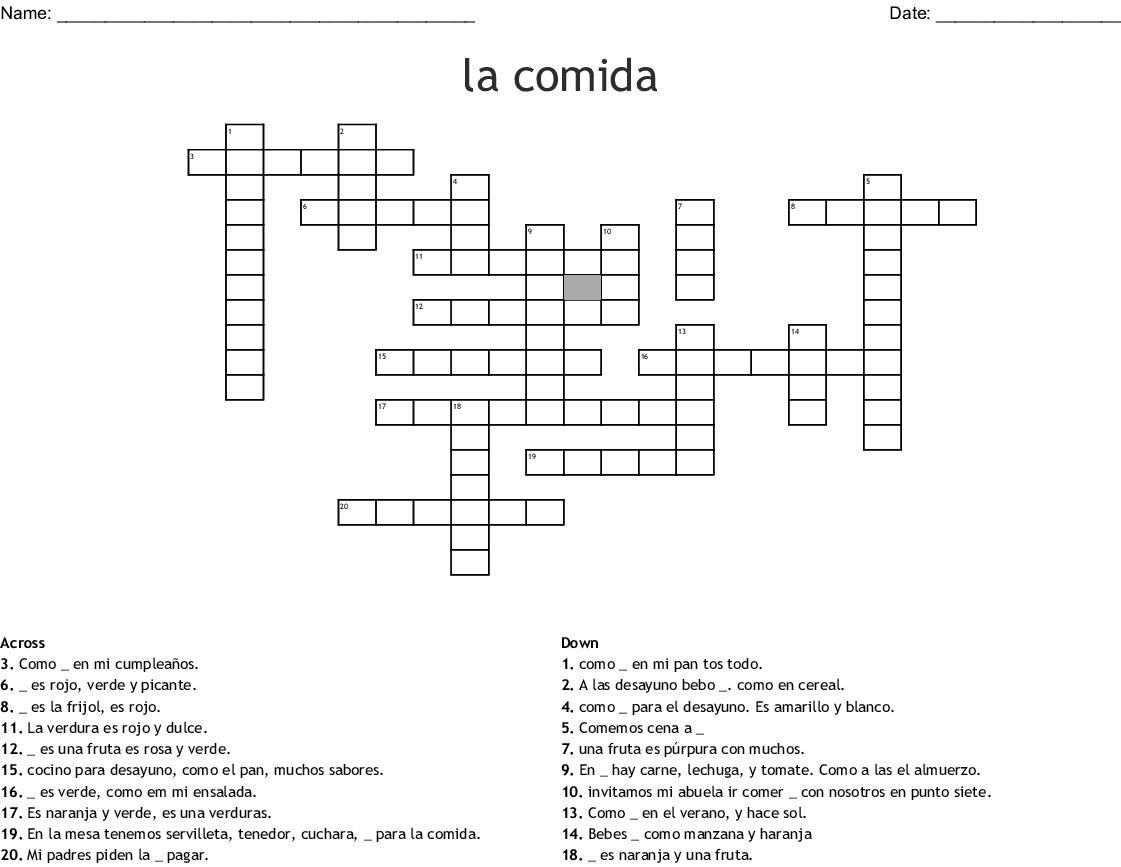 La Comida Crossword
