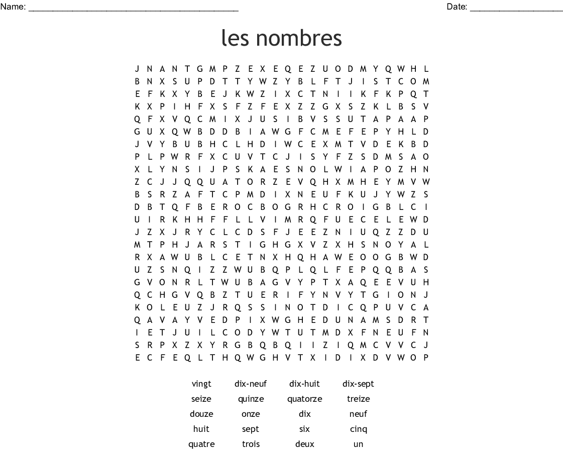 French Numbers 0 50 Word Search