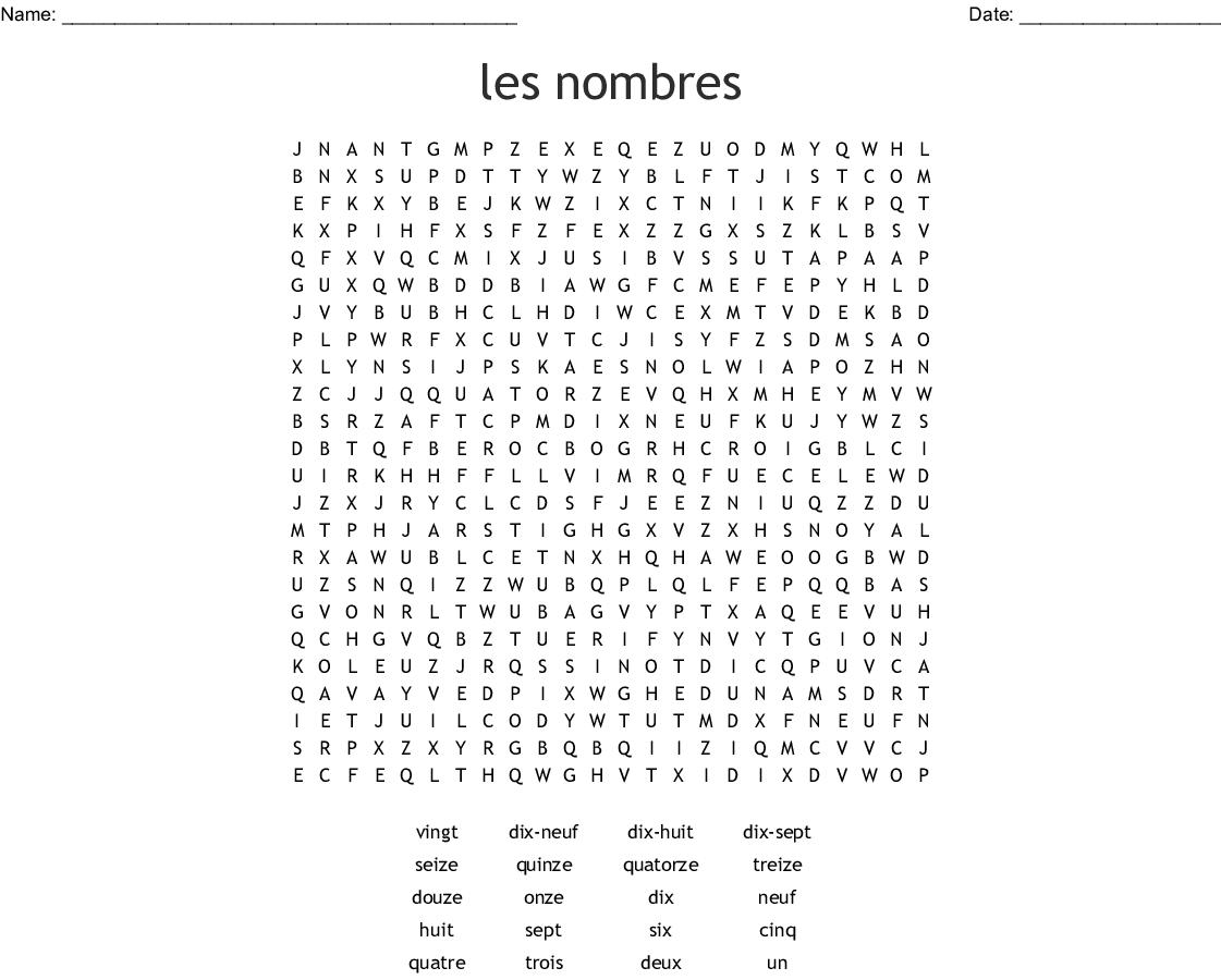 Les Nombres Word Search