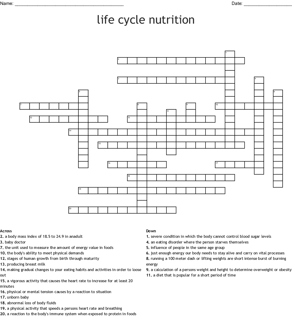 Life Cycle Nutrition Crossword