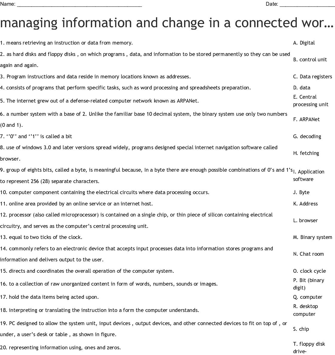 Computer Drives Amp Storage Crosswords Word Searches Bingo