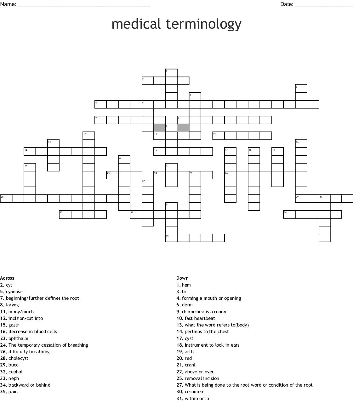 Medical Terminology Suffixes And Prefixes Crossword