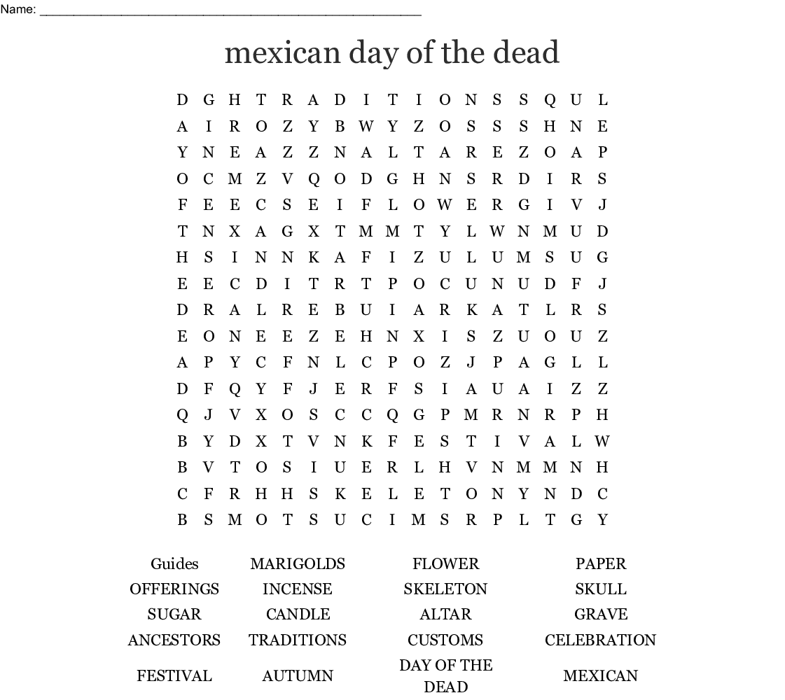 Mexican Day Of The Dead Word Search