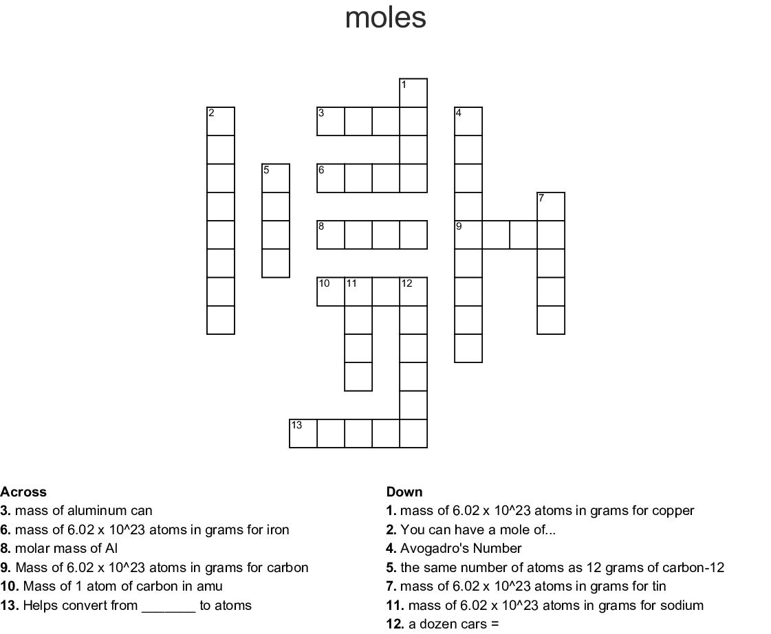 Mole Crossword