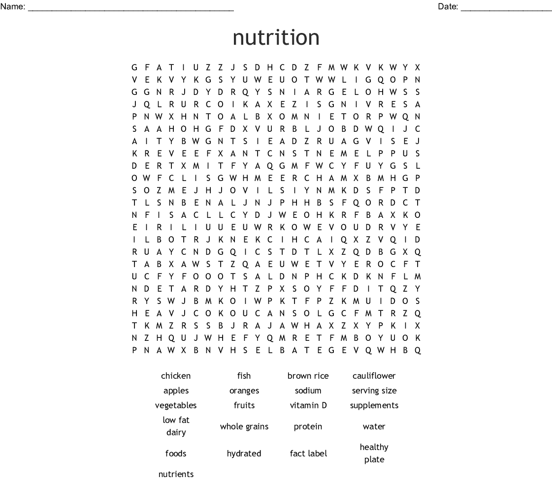 Milk Amp Dairy Products Word Search