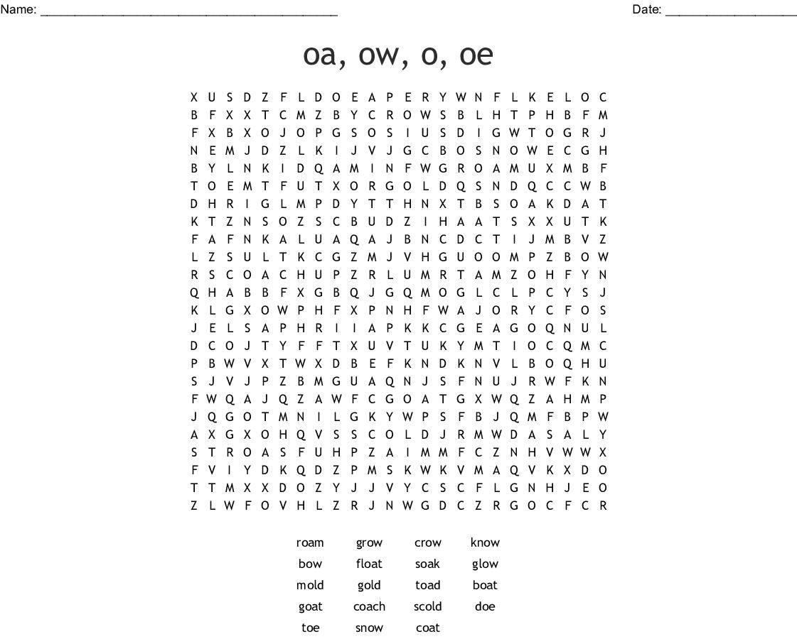 Oa Ow Oe And O O E Words Word Search