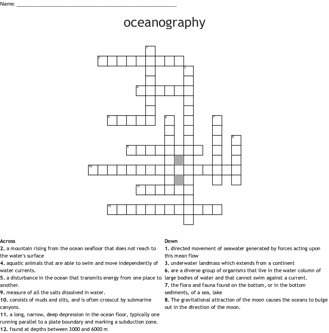 Oceanography Crossword