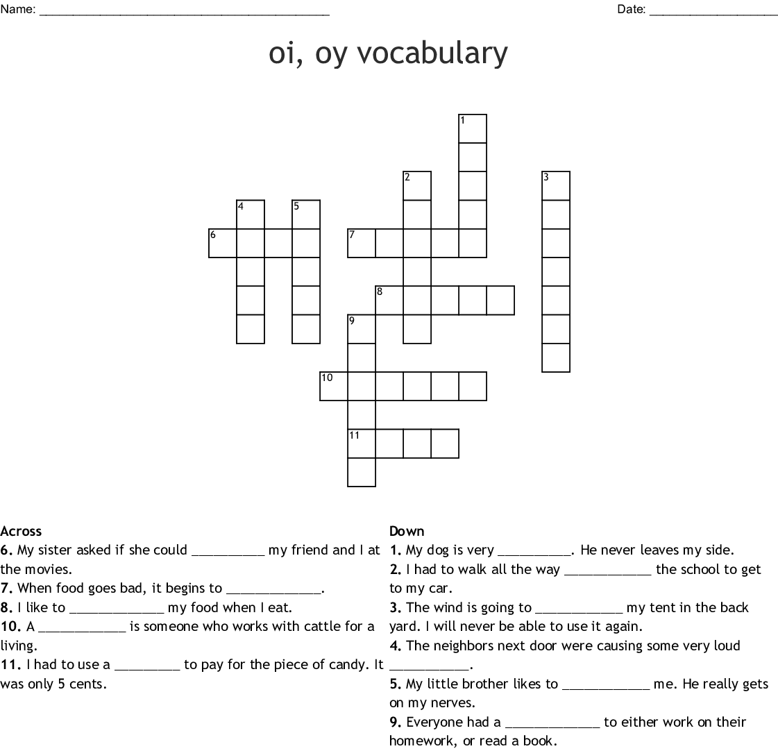 Match The Words To The Question Worksheet