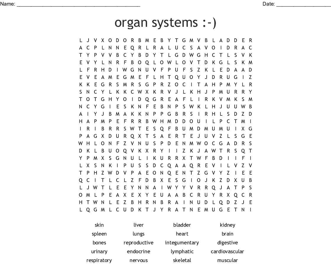 Levels Of Organization Word Search