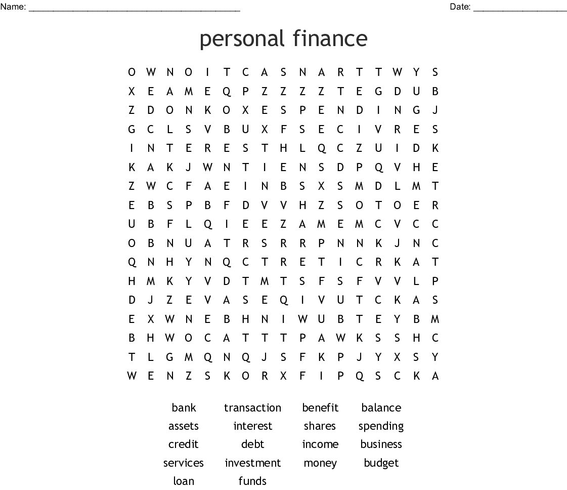 Personal Finance Word Search