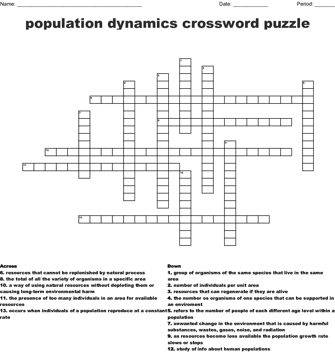 Population Dynamics Worksheet Answers
