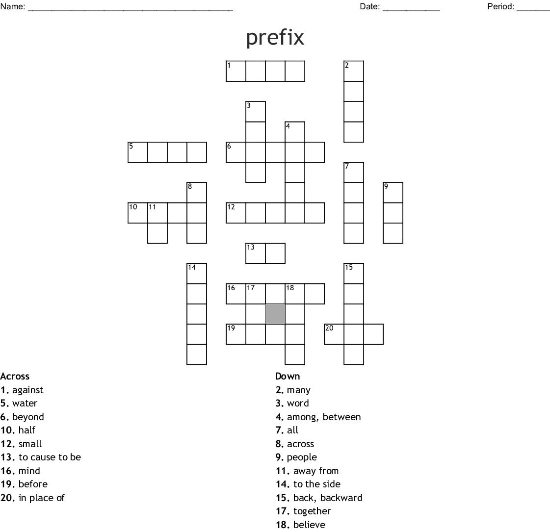 Greek And Latin Prefixes And Affixes Crossword