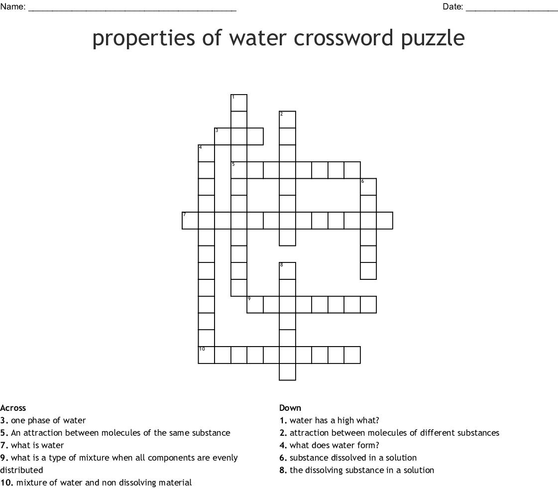 Properties Of Water Crossword Puzzle Crossword