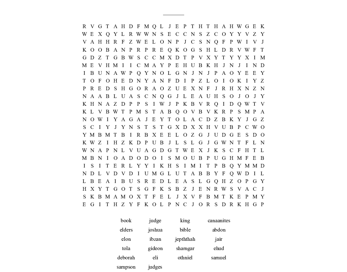 Similar To Judges Of Israel Word Search