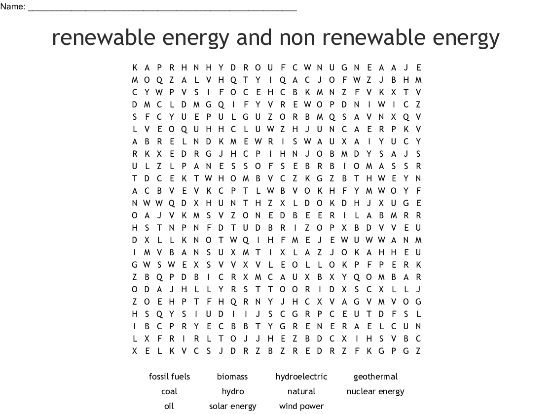 Renewable And Nonrenewable Energy Resources Word Search