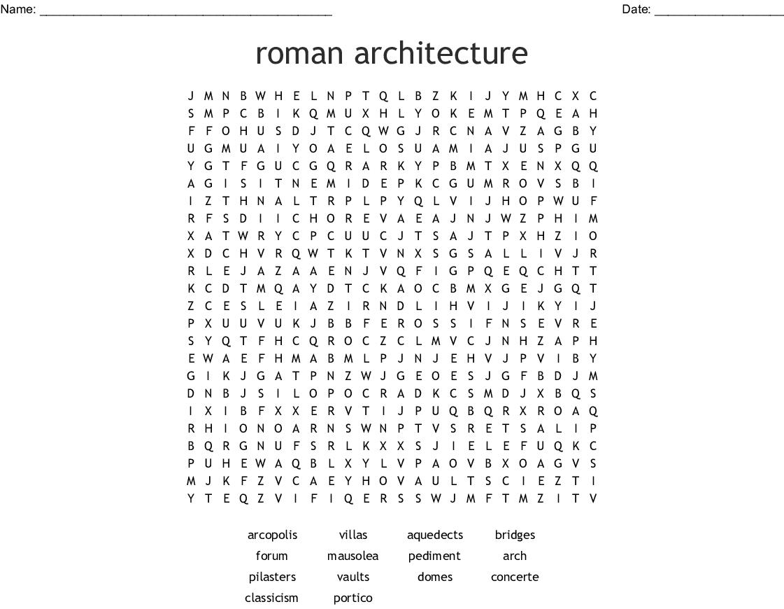Roman Architecture Word Search