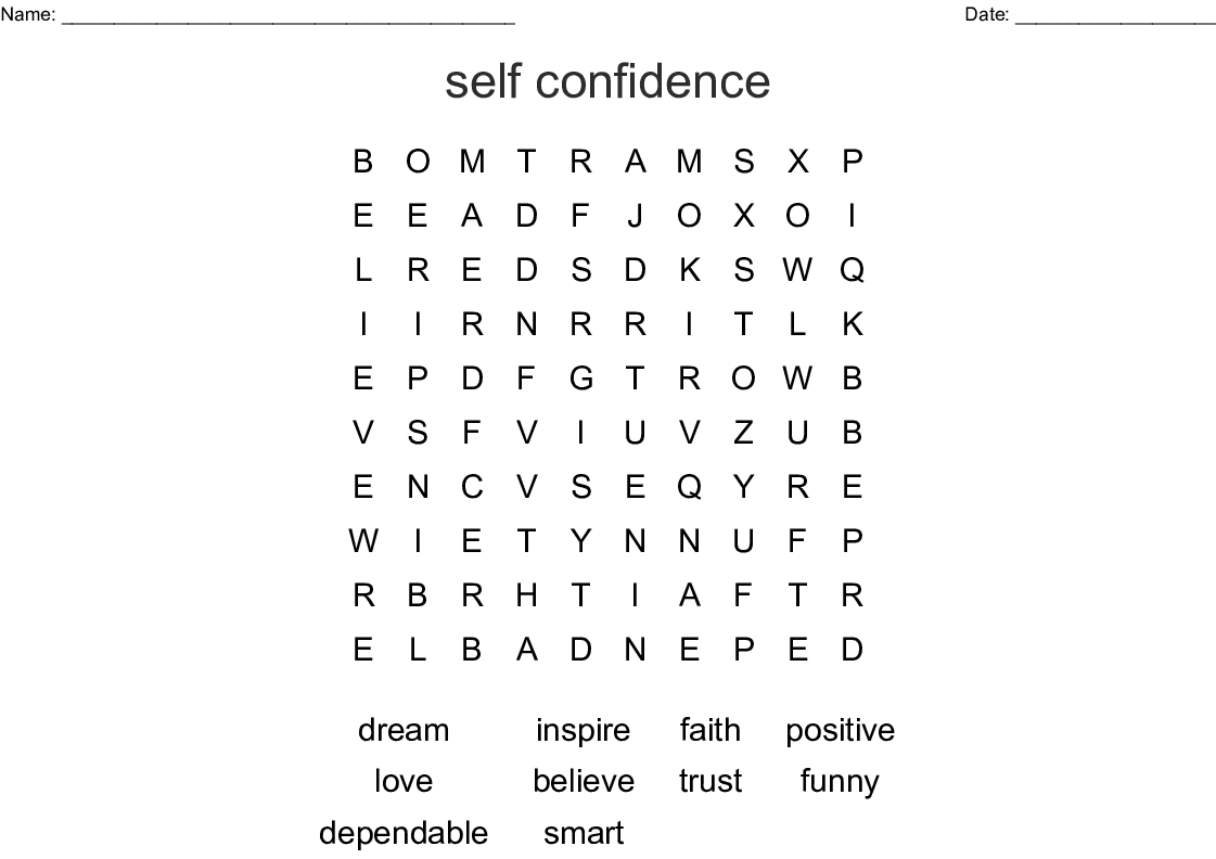 Self Esteem Amp Self Confidence Building Word Search