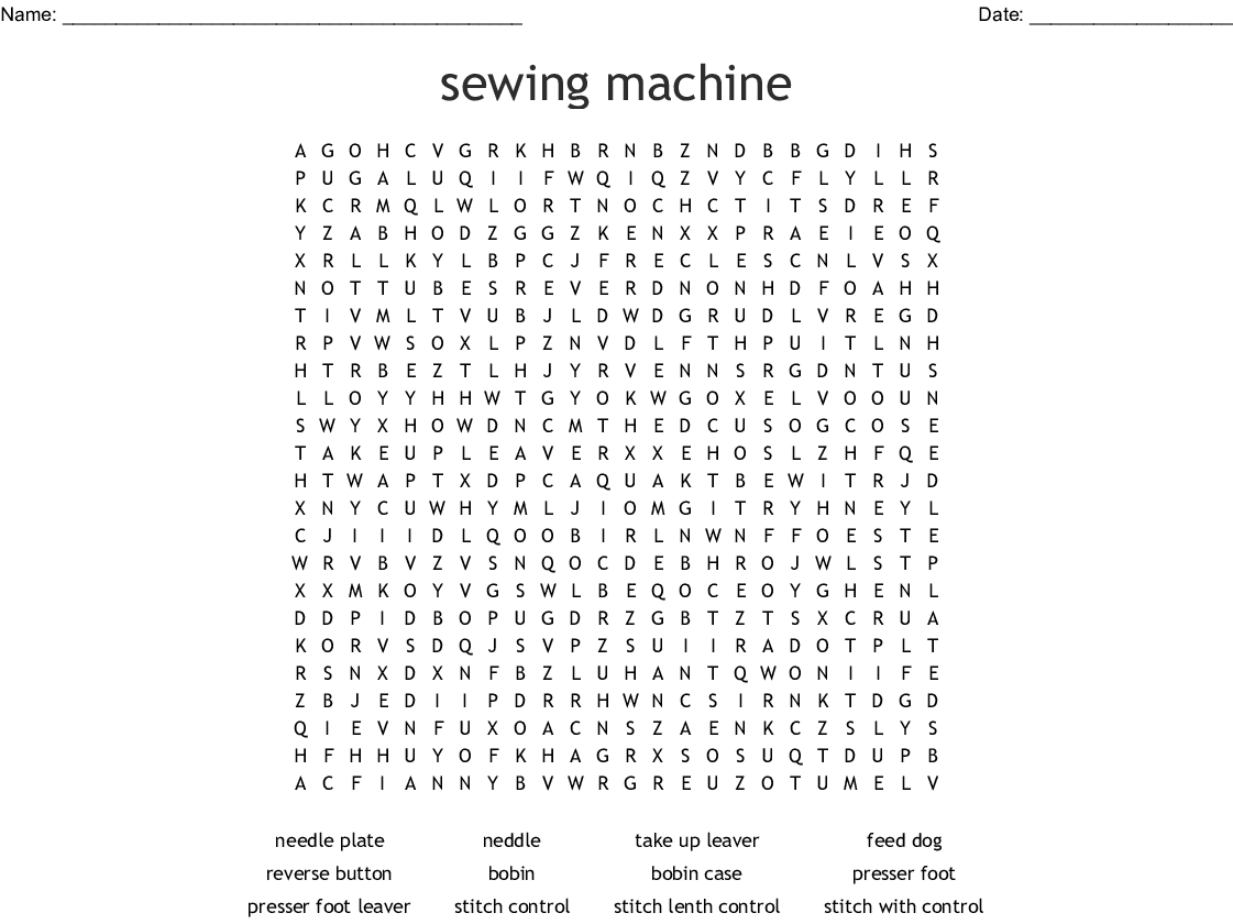 Sewing Machine Word Search