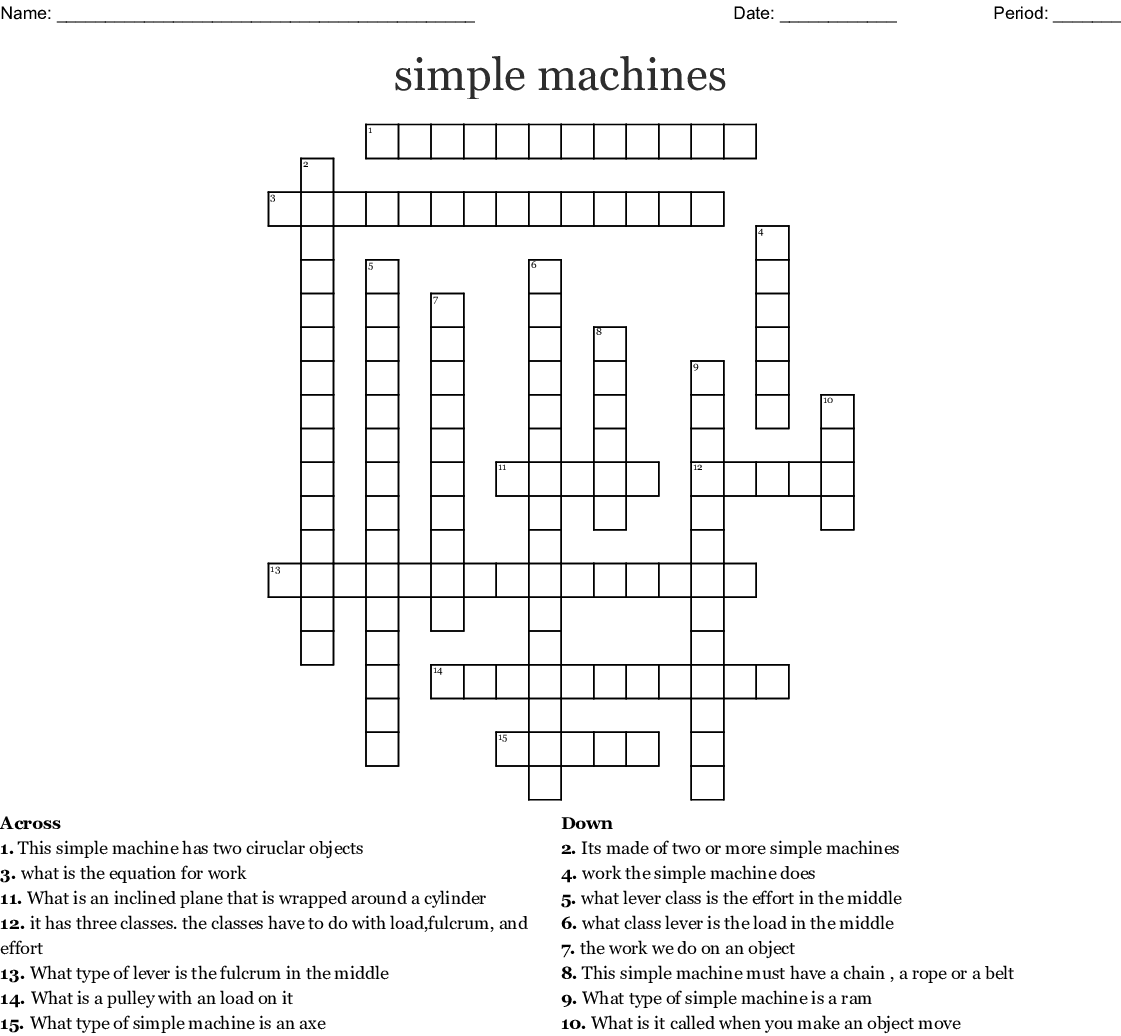 Simple Machines Crossword