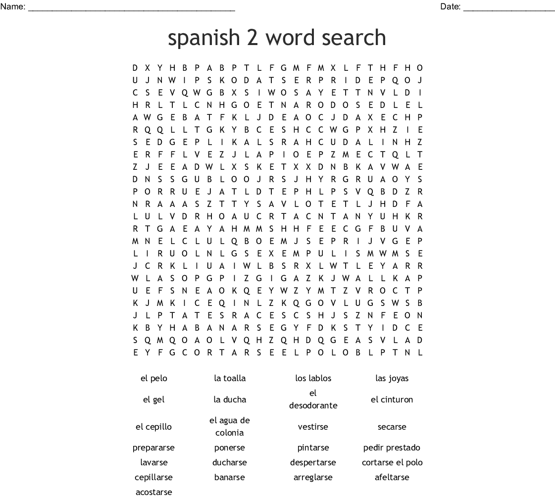 Crossword Realidades 2 Capitulo 2a Answers