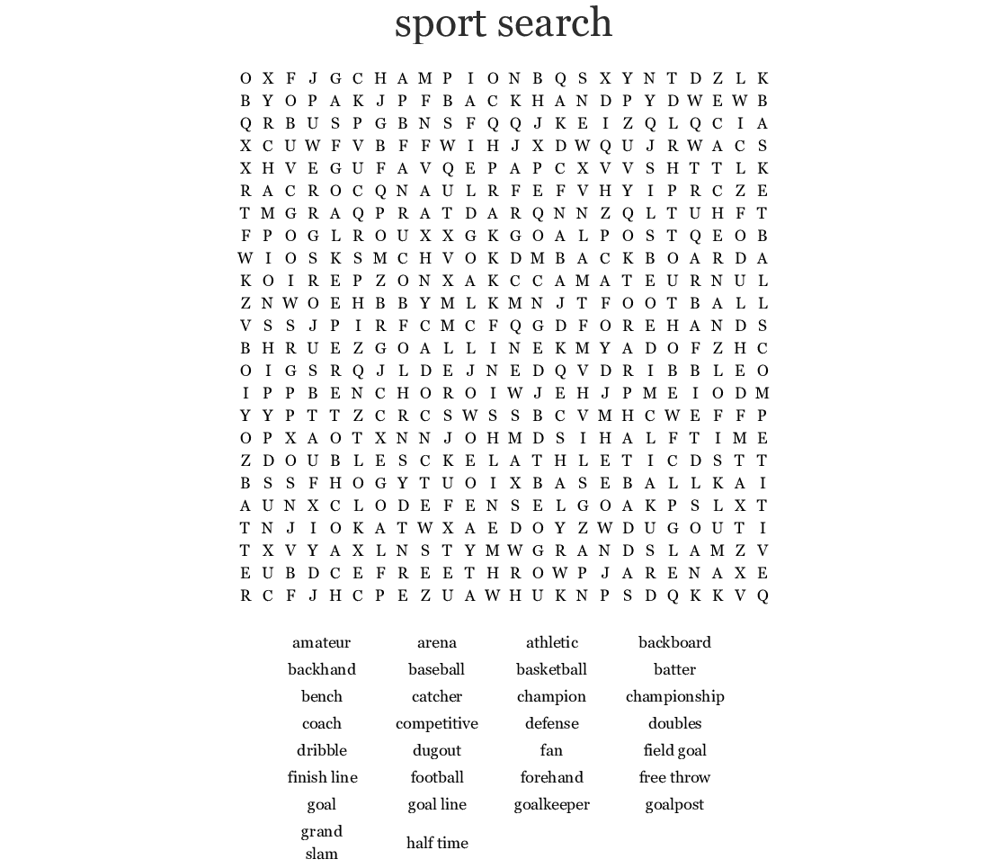 Sport Search Word Search