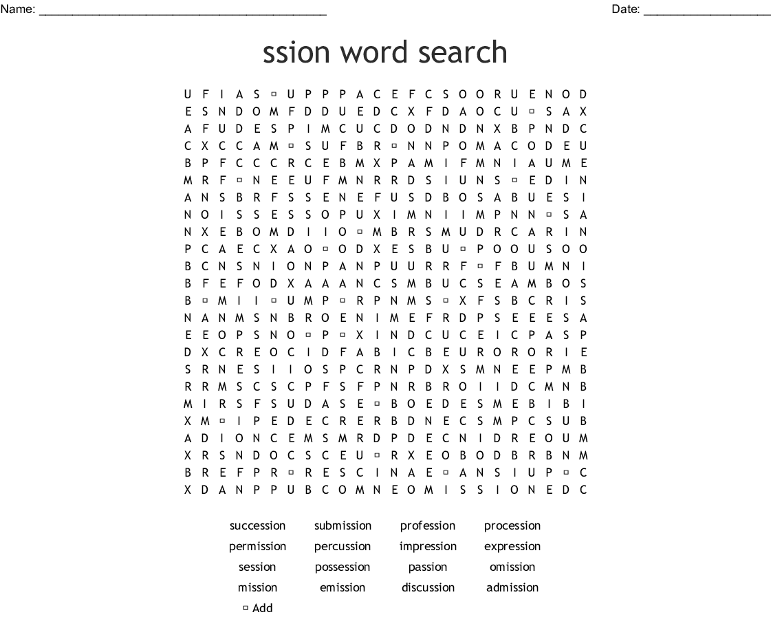 Words Ending Tion And Sion Bingo Cards