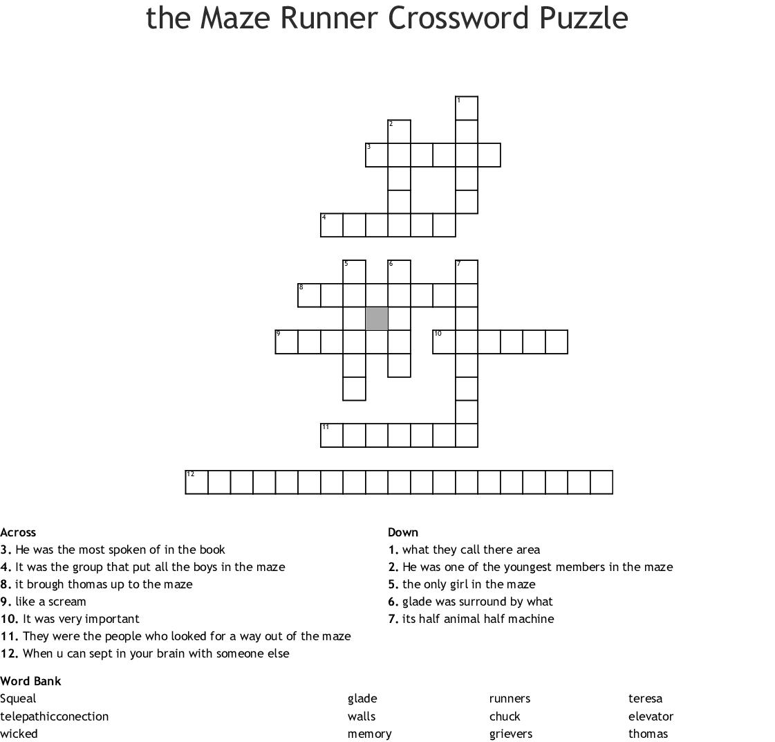 The Maze Runner Crossword Puzzle