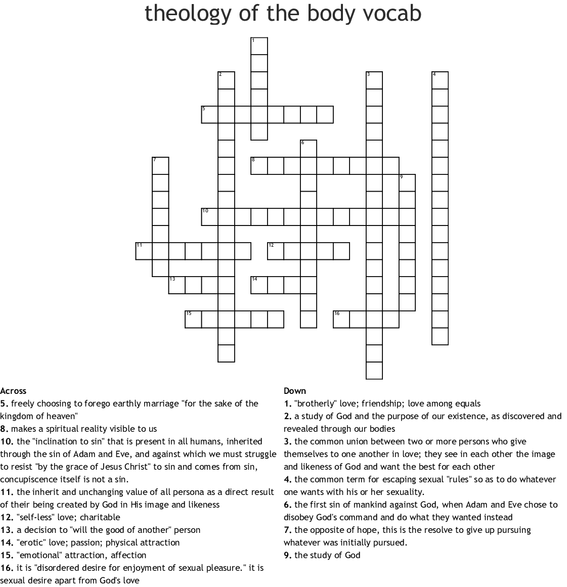 Theology Of The Body Chapter 1 Terms Word Search