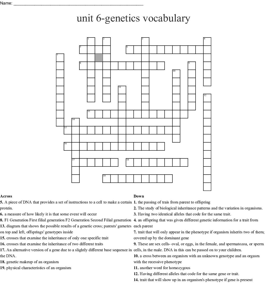 Genetics Vocabulary Crossword