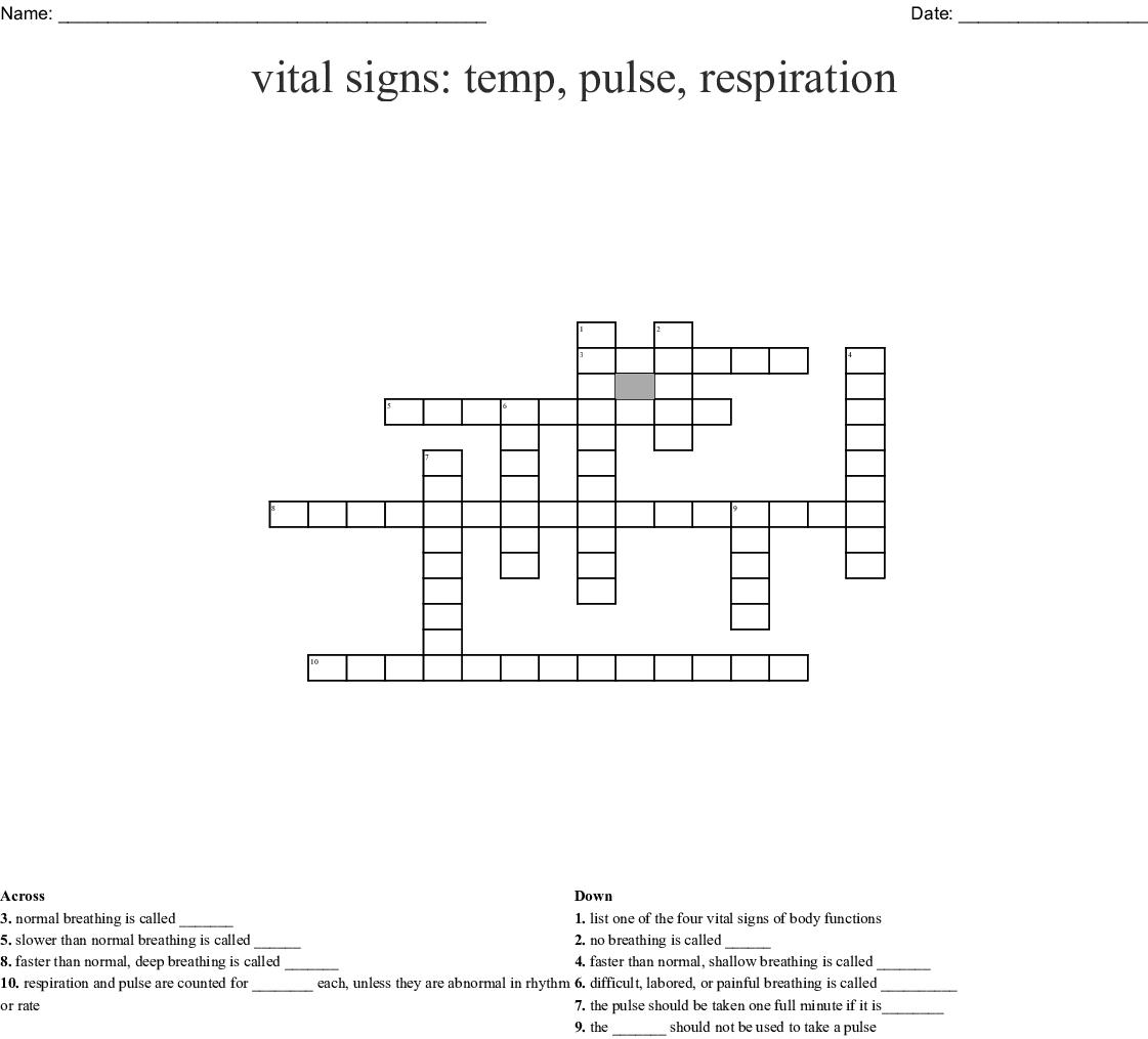 Vital Signs Temperature Pulse Respiration Worksheet