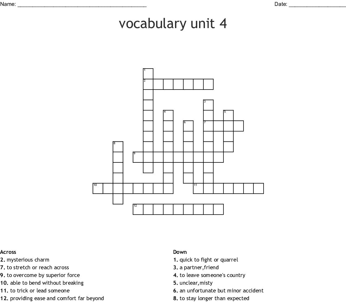 Similar To Vocabulary Unit 4 Crossword