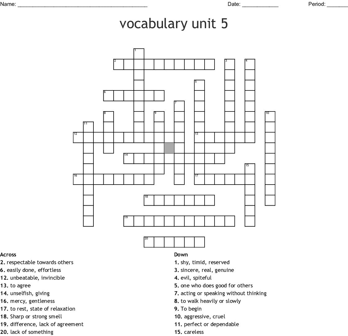 Unit 5 Word Wizard Crossword