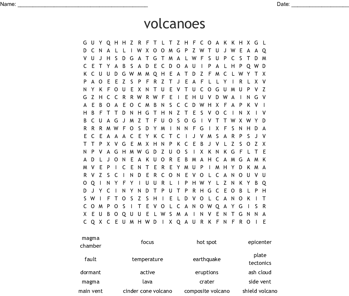 Earthquakes And Volcanoes Word Search