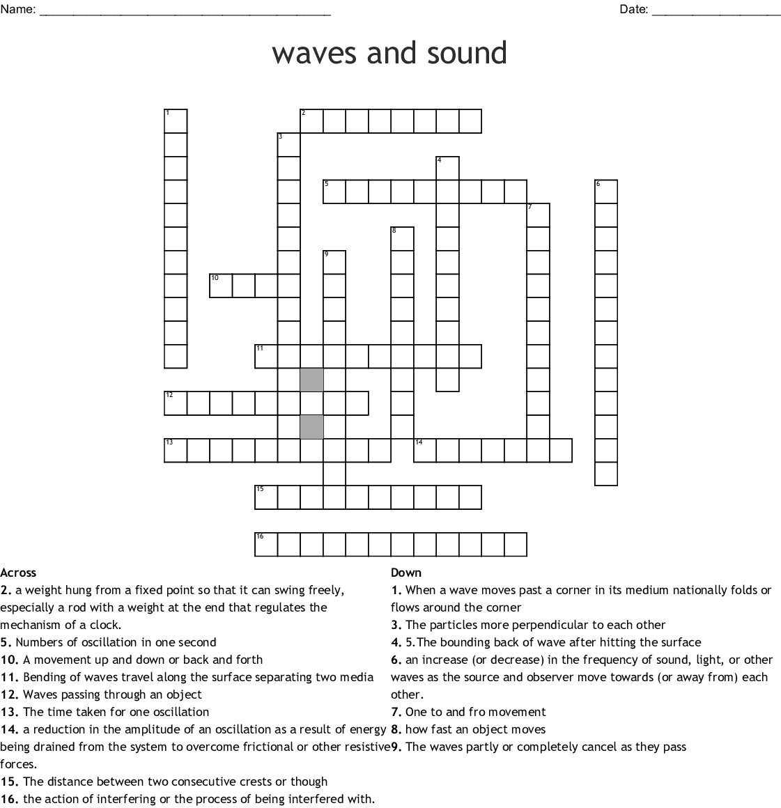 Periodic Motion And Waves Crossword