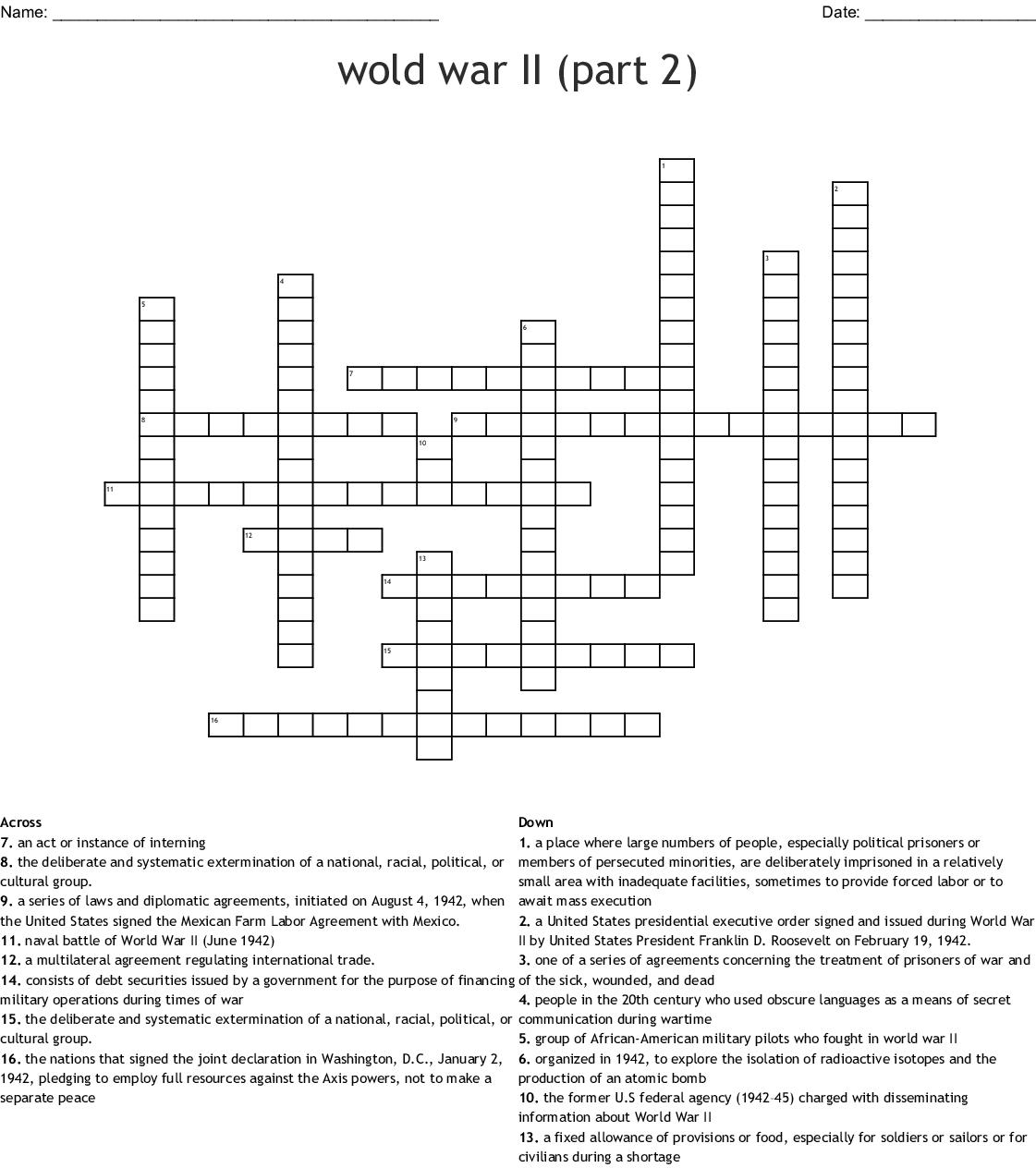 Wold War Ii Part 2 Crossword