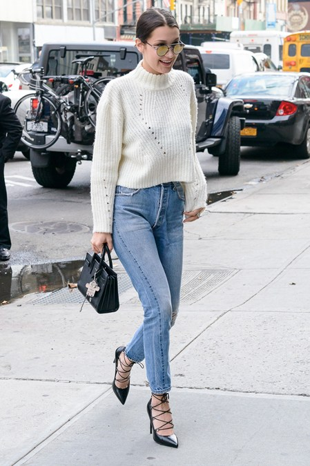 Style Tip: Statement shoes deserve a streamlined outfit. Keep pants cropped and show off the ankles like Bella Hadid!