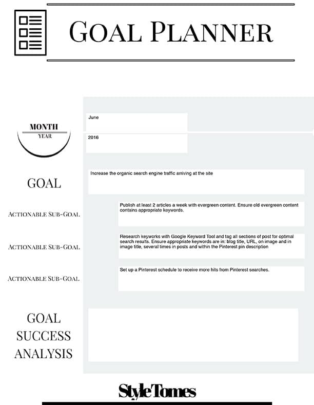 Monthly Goal Setting for bloggers made easy