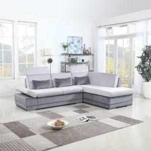 Divano Roma Furniture Classic Large Brush Microfiber L-Shape